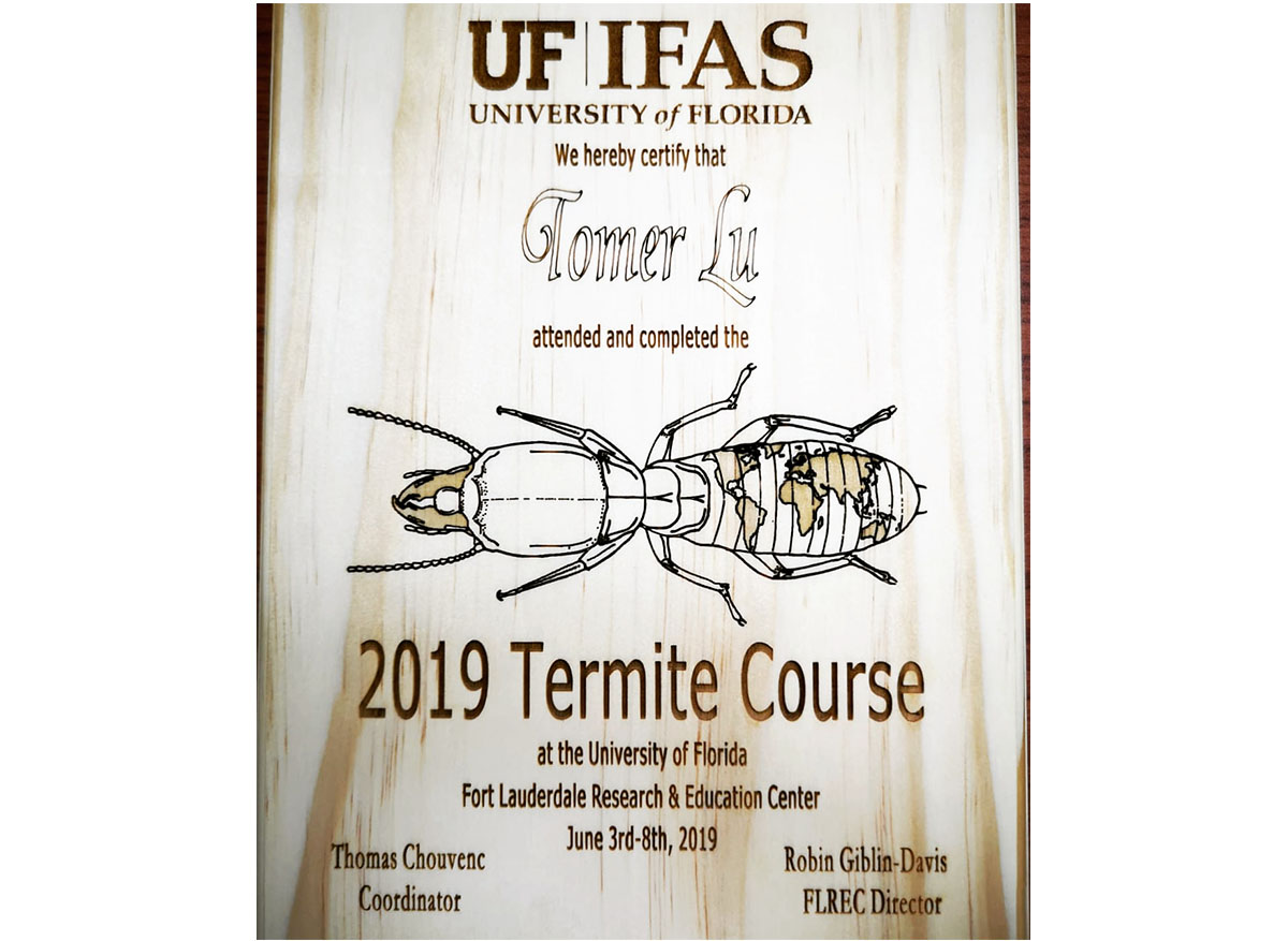 טוטאל הדברה- תעודה על סיום קורס טרמיטים פלורידה